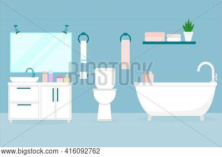 Bathroom Interior. Flat Illustration Of A Room With A Toilet, Bath, Washbasin. Bathroom Of An Apartm