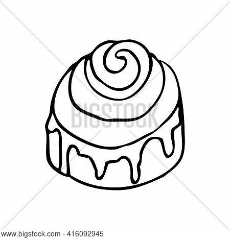 Cinnabon Doodle Hand Drawn Illustration. Traditional Cinnamon Bun With Icing. Vector Icon On White B