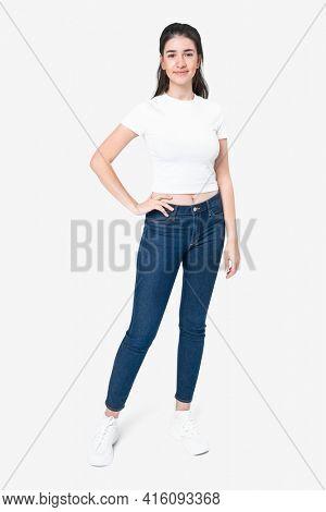 White t-shirt women's basic wear full body