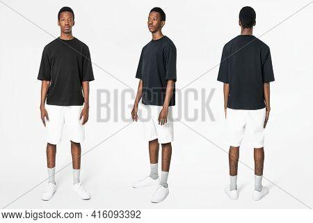 Black t-shirt and shorts men's basic wear full body
