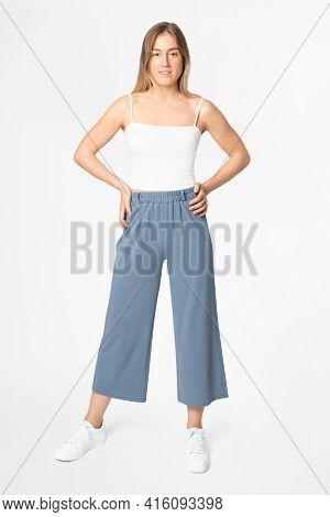 Blue a-line loose pants women's apparel