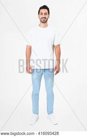 White t-shirt men's basic wear full body