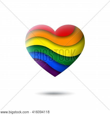Lgbt Concept - Rainbow Pride Flag Lgbtq Icon In The Shape Of Heart. Abstract Waving Lgbtq Flag. Pape