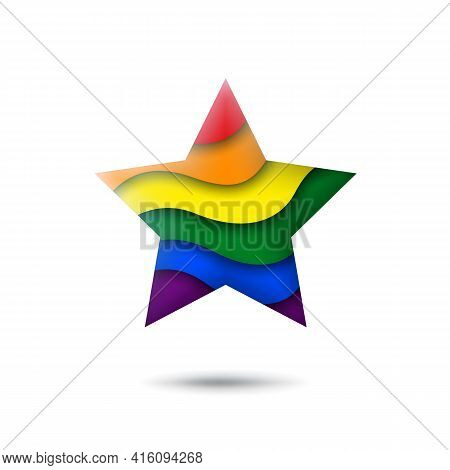 Lgbt Concept - Rainbow Pride Flag Lgbtq Icon In The Shape Of Star. Abstract Waving Lgbtq Flag. Paper