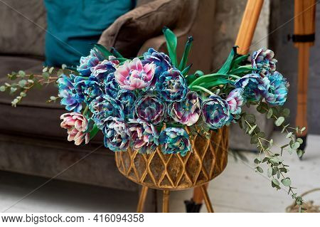 Gold Metal Snau On Long Knife With Blue Flowers. Interior Design And Floristry. Decoration Of The Ho