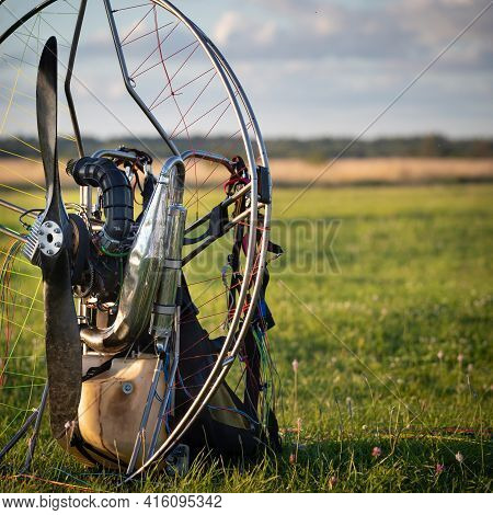 Closeup Of A Petrol-powered Paramotor With A Propeller And Protection For Individual Paragliding Fli