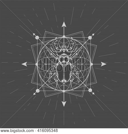 Vector Illustration With Hand Drawn Stag Beetle And Sacred Geometric Symbol On Black Background. Abs