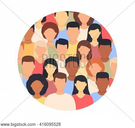 Diverse Multicultural Group Of People Standing Together In Round Shape. Concept Of Diversity Men And