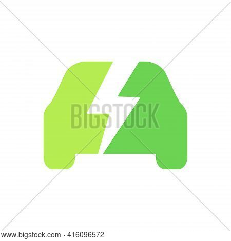 Electric Car Icon. Eco Green Vehicle Symbol. Hybrid Auto Sign. Vector Illustration Isolated On White