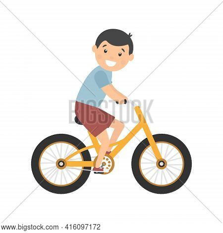 Happy Cute Boy Riding Bike. Healthy Lifestyle Concept. Little Child Rides Bicycle. Vector Isolated O