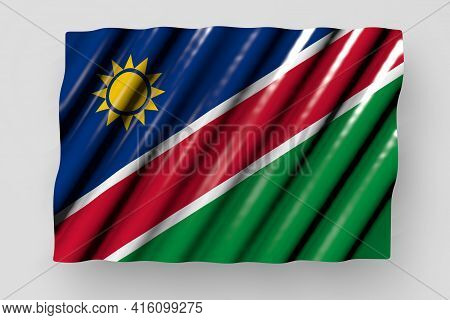 Cute Any Occasion Flag 3d Illustration  - Shiny Flag Of Namibia With Large Folds Lay Isolated On Gre
