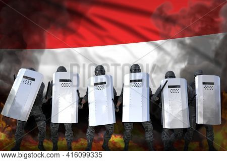 Yemen Protest Fighting Concept, Police Special Forces Protecting Country Against Riot - Military 3d
