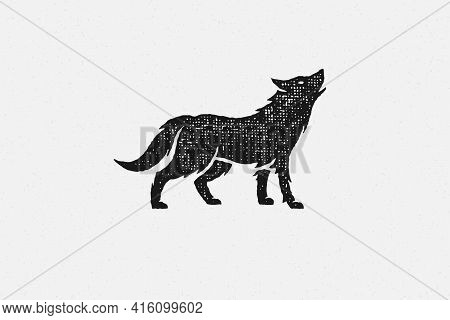Black Silhouette Of Wild Wolf Howling Loudly As Symbol Wildlife Hand Drawn Stamp Effect Vector Illus