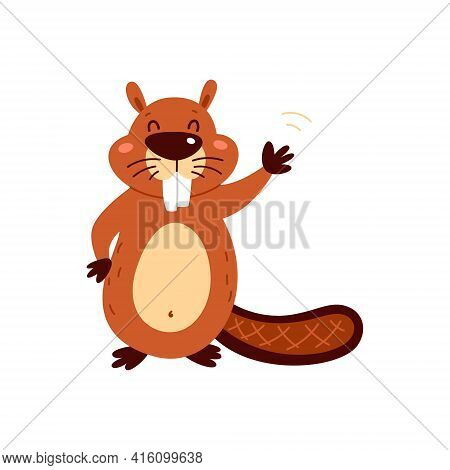 Funny Cartoon Beaver On A White Background. Vector Illustration