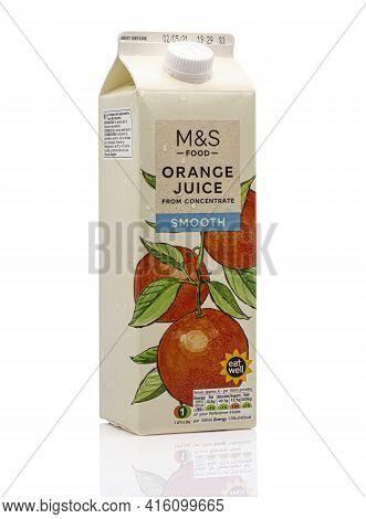 Swindon, Uk - April 8, 2021: Carton Of Marks And Spencer Smooth Orange Juice