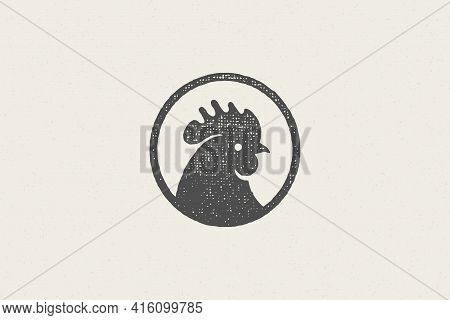 Black Rooster Head Silhouette For Poultry Farm Industry Hand Drawn Stamp Effect Vector Illustration.