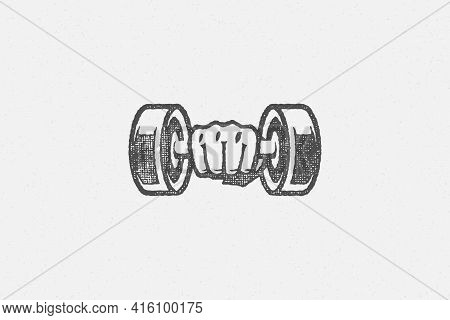 Athlete Sportsman Hand Holding Heavy Dumbbell During Weightlifting Training In Gym Hand Drawn Stamp