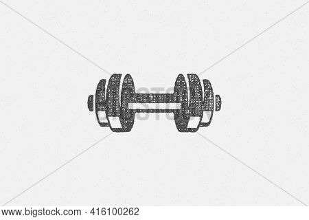 Heavy Dumbbell Silhouette As Symbol Of Weightlifting Training In Gym Hand Drawn Stamp Vector Illustr