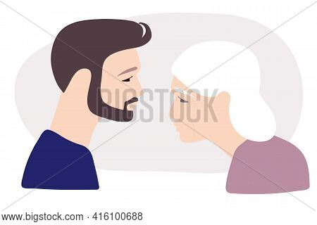 Elderly Woman With Gray Hair And Wrinkles And Her Adult Son. Flat Vector Illuctration. Caucasian Por