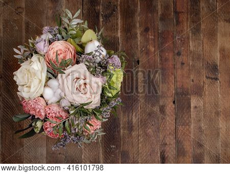 Flowers Bouquet On Old Retro Wooden Background For Womens Day, Valentines Day, Mothers Day. Copy Spa