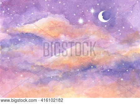 Watercolor Painting Of Moon And Clouds Background With Soft Pastel Color. Fantasy Magical Night Sky