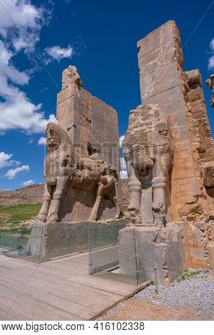 Ruins, Statues And Murals Of Ancient Persian City Of Persepolis In Iran. Most Famous Remnants Of The