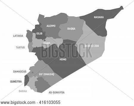 Grey Political Map Of Syria. Administrative Divisions - Governorates. Simple Flat Vector Map With La