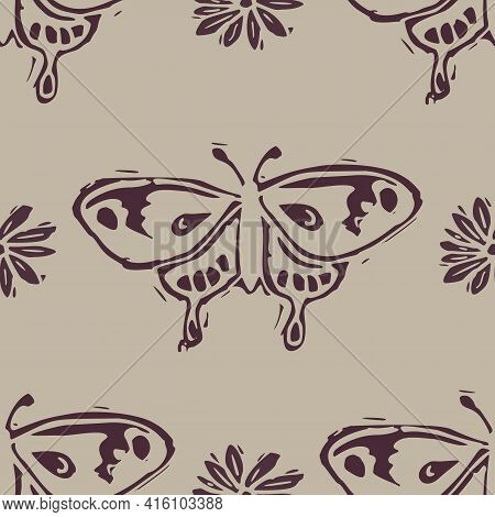 Handmade Carved Block Print Butterfly Seamless Pattern. Rustic Naive Folk Silhouette Illustration Ba