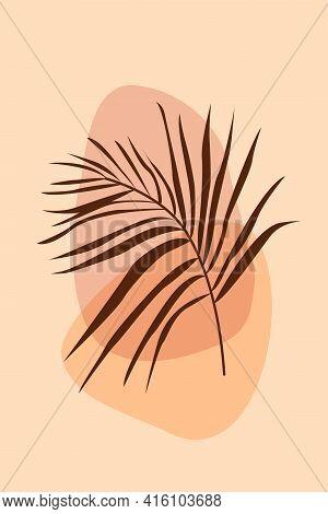 Leaf Boho Pattern Background. Boho Minimalist Abstract Plant Illustration For Design Nursery Wall De