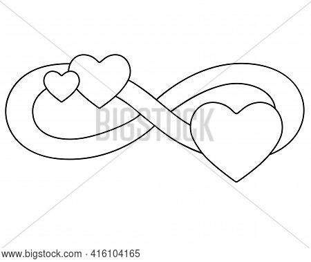 Infinity Sign With Three Hearts - Vector Linear Illustration For Coloring. Eternal Love Symbol For V