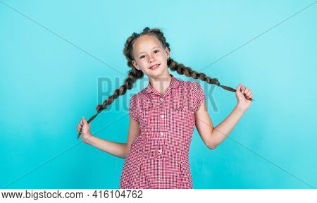 Happy Teen Girl Holding Her Braided Hair. Female Hairdresser Salon. Perfect Hairstyle For Child.