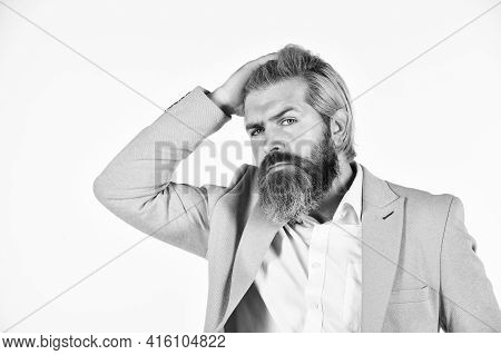 Business Reputation. Formal Style. Handsome Businessman. Serious Bearded Man. Legal Consultation. La