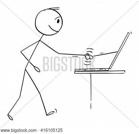 Man Or Businessman Shaking Hand Online, Business Agreement Signed On Internet,  Cartoon Stick Figure