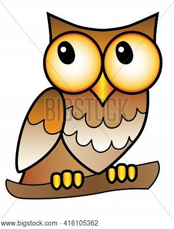 Owl - Full Color Stock Illustration. A Small Big-headed Owl With Big Eyes Sits On A Branch - A Pictu