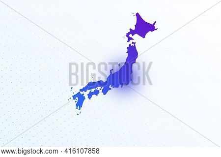 Map Icon Of Japan. Colorful Gradient Map On Light Background. Modern Digital Graphic Design. Light W