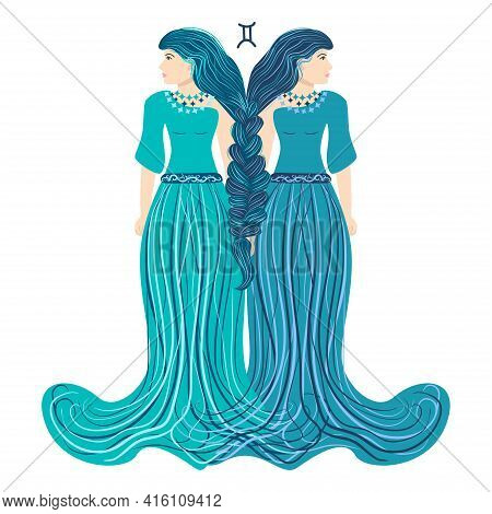 Zodiac, Gemini Zodiac Sign Illustration As A Beautiful Girl With Braids. Vintage Zodiac Boho Style F