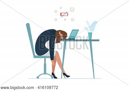 Businesswoman Professional Burnout Syndrome. Exhausted Sick Tired Female Manager Sit With Head Down