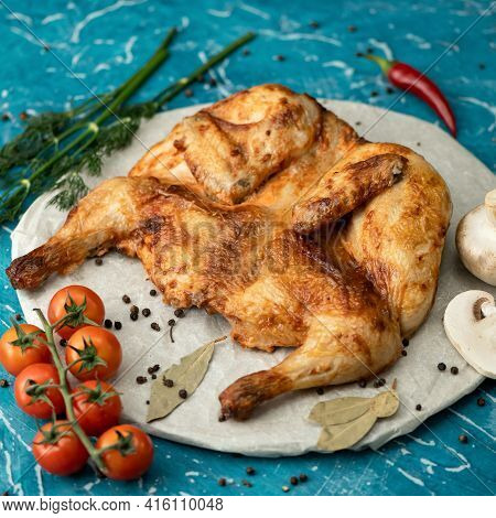 Whole Fried Tobacco Chicken. Juicy Baked Or Grilled Chicken, Poultry White Meat With Crispy Crust. B