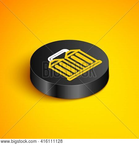 Isometric Line Granary Icon Isolated On Yellow Background. Silo With Grain, Elevator, Granary, Facto