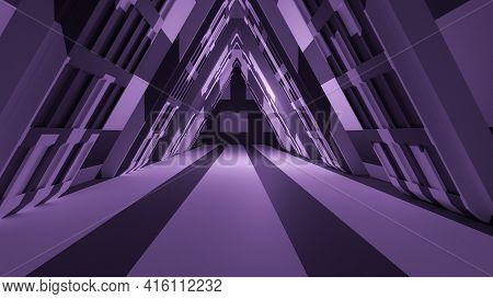 Clean Scifi Fantasy Space Tunnel Corridor And Extraterrestrial Abstract 3d Illustration Wallpaper Ba