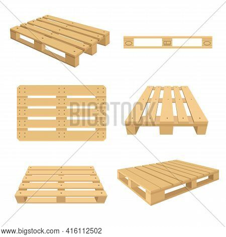 Set Of Cartoon Wooden Pallets Flat Vector Illustration. Colorful Wood Pallets For Stacking From Diff