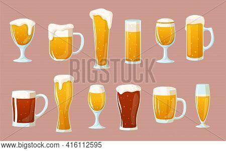 Cartoon Set Of Glasses With Light And Dark Beer. Flat Vector Illustration. Vintage Cute Clipart Of P