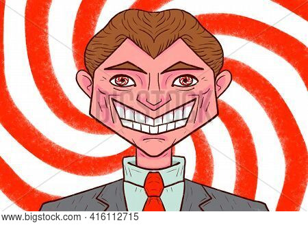 Drawing Of A Salesperson, Sales Manager. The Art Of Selling. Hypnosis. Sales Talent Metaphor, Impact