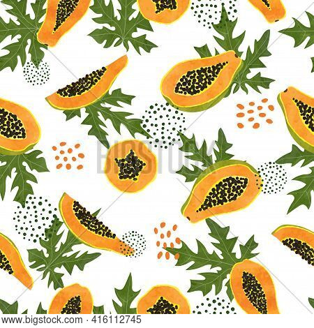 Tropical Pattern With Papaya And Leaves. Vector Seamless Exotic Fruit Illustration.