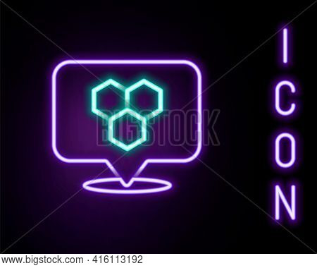 Glowing Neon Line Honeycomb Bee Location Map Pin Pointer Icon Isolated On Black Background. Farm Ani