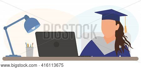 Virtual Graduation. Graduate Girl Is Sitting At Desk In Front Of Laptop And Attending At Online Grad