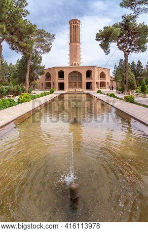 Yazd, Iran - 14.04.2019: The Tallest Wind Tower Of Iran In Dolat-abad Garden, Yazd, Iran. Historical
