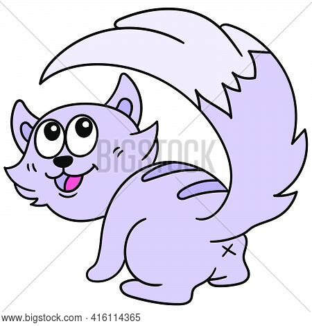A Purple Skunk Animal, Character Cute Doodle Draw. Vector Illustration