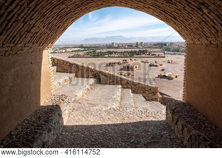 Ancient Persian City Of Yazd, Iran, Viewed From A Tomb On A Hill Of A Tower Of Silence. Hot Summer D