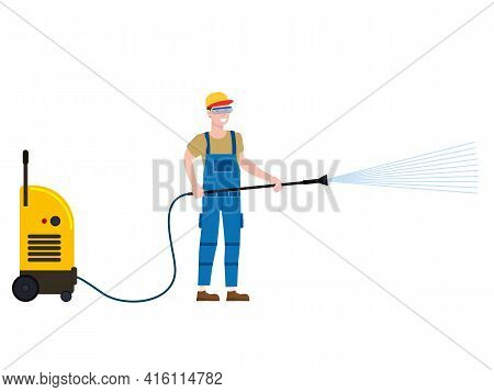 Car Wash Worker With Equipment. Auto Service Man Worker Washing, Clean Car. Vector Illustration Isol